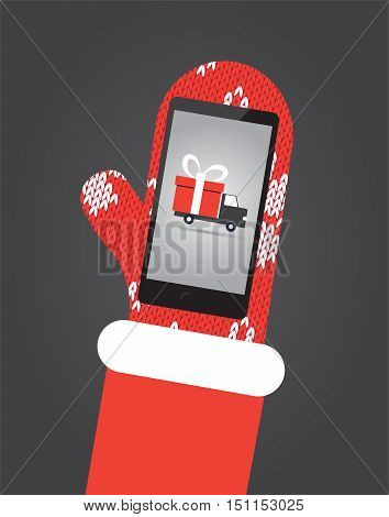 Santa's hand in red mittens hold smartphone with shopping app with shipping truck on screen. Flat vector illustration christmas card