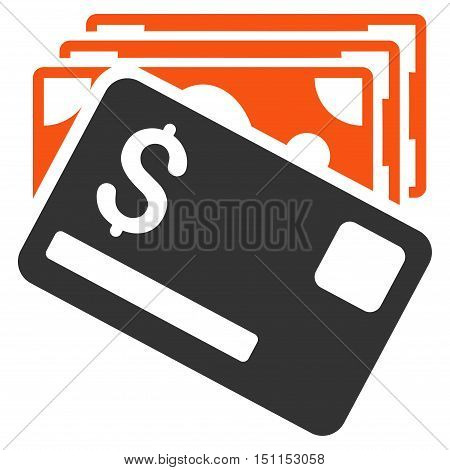 Banknotes and Card icon. Glyph style is bicolor flat iconic symbol with rounded angles orange and gray colors white background.