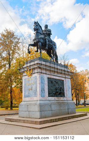 SAINT PETERSBURG RUSSIA-OCTOBER 3 2016. The Monument to Peter I bronze equestrian monument of Peter the Great in front of the St. Michael's Castle in Saint Petersburg Russia