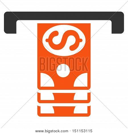 Banknotes Withdraw icon. Glyph style is bicolor flat iconic symbol with rounded angles orange and gray colors white background.