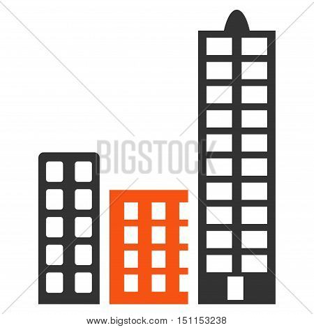 City icon. Glyph style is bicolor flat iconic symbol with rounded angles, orange and gray colors, white background.
