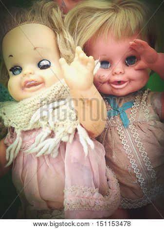 vintage happy smiling waving tiny tears dolls
