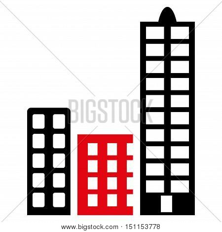 City icon. Glyph style is bicolor flat iconic symbol with rounded angles, intensive red and black colors, white background.
