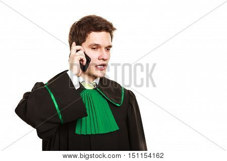 Serious Lawyer Make A Phone Call.