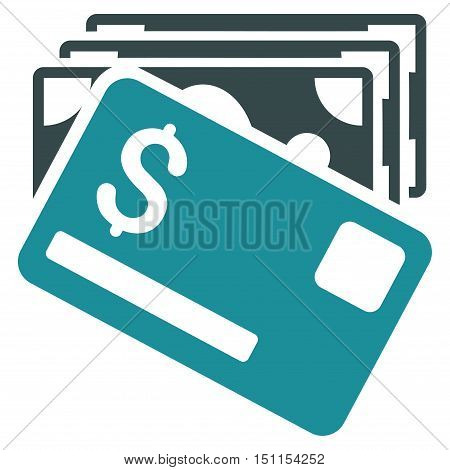 Banknotes and Card icon. Glyph style is bicolor flat iconic symbol with rounded angles, soft blue colors, white background.