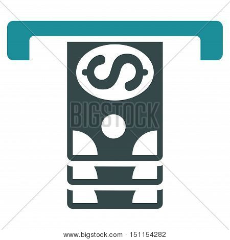 Banknotes Withdraw icon. Glyph style is bicolor flat iconic symbol with rounded angles, soft blue colors, white background.