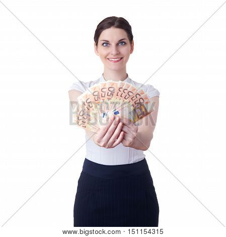 Smiling businesswoman standing over white isolated background with fifty euro banknotes in hands, business, education, money, wealth concept