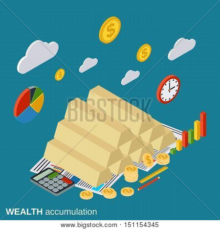 Wealth accumulation, business success, investment flat isometric vector concept illustration