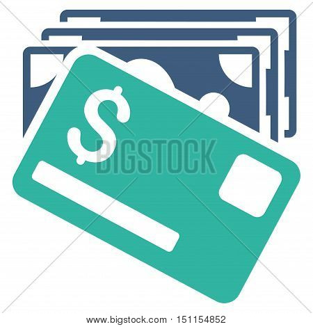 Banknotes and Card icon. Glyph style is bicolor flat iconic symbol with rounded angles, cobalt and cyan colors, white background.