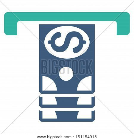 Banknotes Withdraw icon. Glyph style is bicolor flat iconic symbol with rounded angles, cobalt and cyan colors, white background.