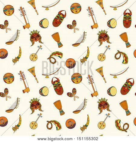 Hand-drawn seamless african music pattern. Vector illustration can be used for wallpaper, website background, wrapping paper. Sketch elements of musical instruments drum, shakers, horn, kora, djembe