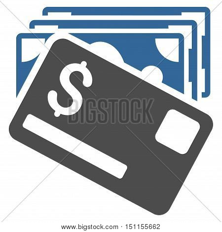 Banknotes and Card icon. Glyph style is bicolor flat iconic symbol with rounded angles, cobalt and gray colors, white background.