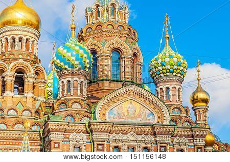 Cathedral of Our Savior on Spilled Blood in Saint Petersburg Russia - closeup of domes and architecture details.
