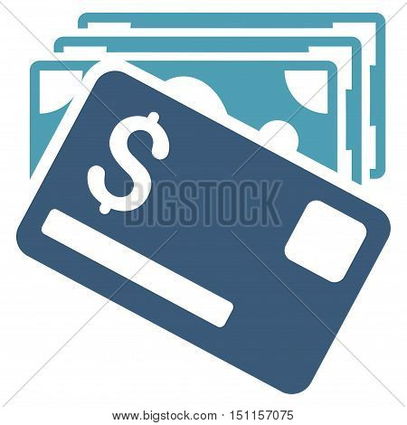 Banknotes and Card icon. Glyph style is bicolor flat iconic symbol with rounded angles cyan and blue colors white background.