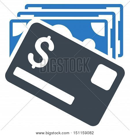 Banknotes and Card icon. Glyph style is bicolor flat iconic symbol with rounded angles, smooth blue colors, white background.