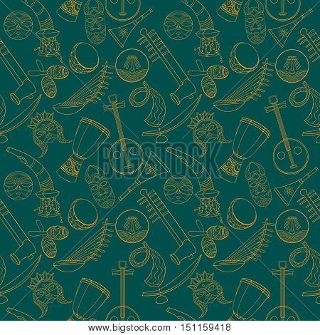 Hand-drawn seamless african music pattern. Vector illustration. Sketch elements of musical instruments drum, shakers, horn, kora, djembe