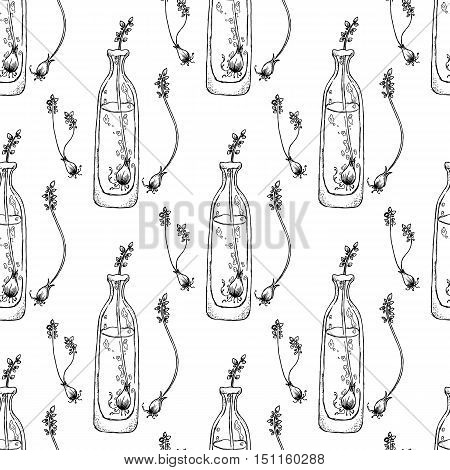 Black and white illustration on white background. Seamless pattern. Bottle with sprouts