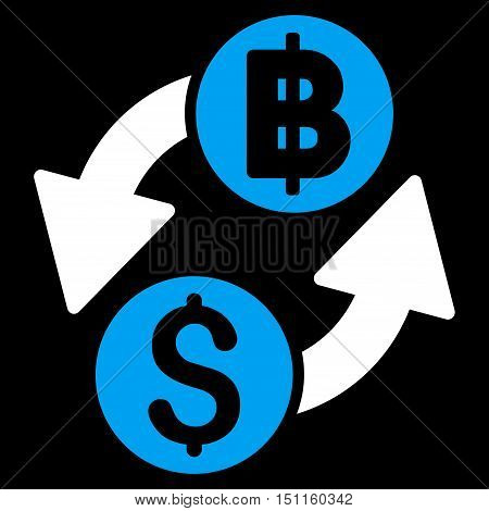 Dollar Baht Exchange icon. Glyph style is bicolor flat iconic symbol with rounded angles, blue and white colors, black background.