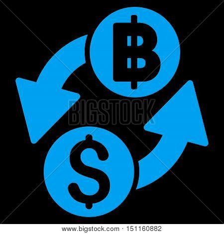 Dollar Baht Exchange icon. Glyph style is flat iconic symbol with rounded angles, blue color, black background.