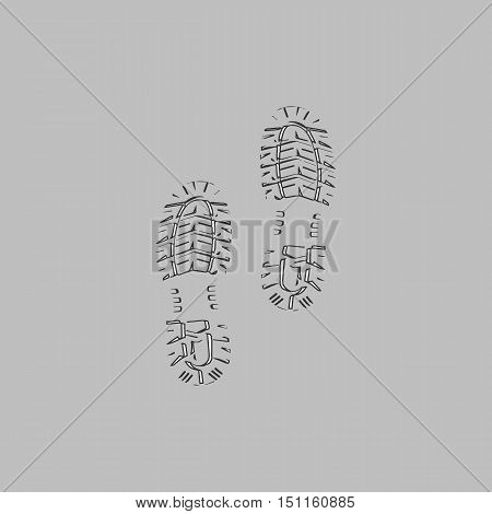 imprints Simple line vector button. Thin line illustration icon. White outline symbol on grey background