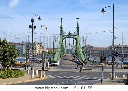 BUDAPEST HUNGARY - SEPTEMBER 28 2016: Liberty Bridge over the River Danube from Buda to Pest