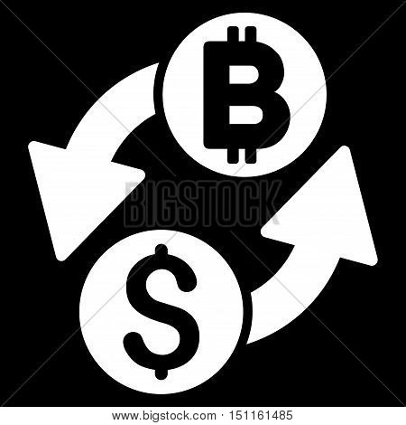 Dollar Bitcoin Exchange icon. Glyph style is flat iconic symbol with rounded angles, white color, black background.