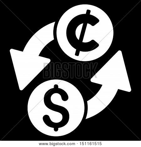 Dollar Cent Exchange icon. Glyph style is flat iconic symbol with rounded angles, white color, black background.