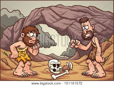 Cartoon cavemen looking at a skull. Vector clip art illustration with simple gradients. Cavemen, skull and background on separate layer.