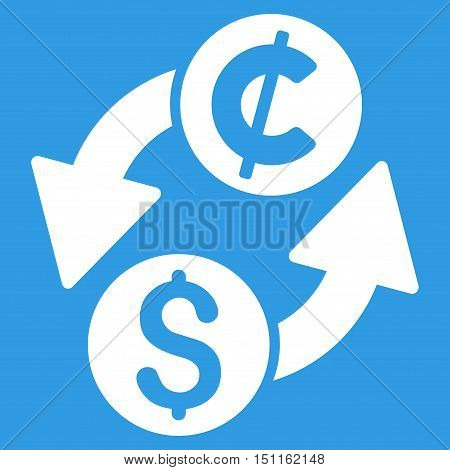Dollar Cent Exchange icon. Glyph style is flat iconic symbol with rounded angles, white color, blue background.