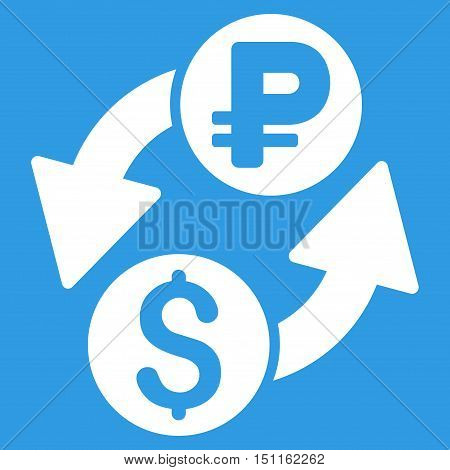 Dollar Rouble Exchange icon. Glyph style is flat iconic symbol with rounded angles, white color, blue background.