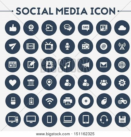 Trendy flat design big social media icons set on bright round buttons