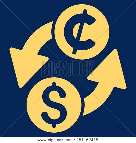 Dollar Cent Exchange icon. Glyph style is flat iconic symbol with rounded angles, yellow color, blue background.