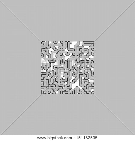 Labyrinth Simple line vector button. Thin line illustration icon. White outline symbol on grey background