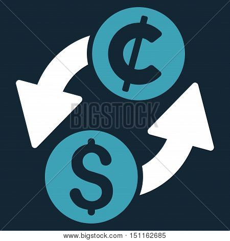 Dollar Cent Exchange icon. Glyph style is bicolor flat iconic symbol with rounded angles, blue and white colors, dark blue background.