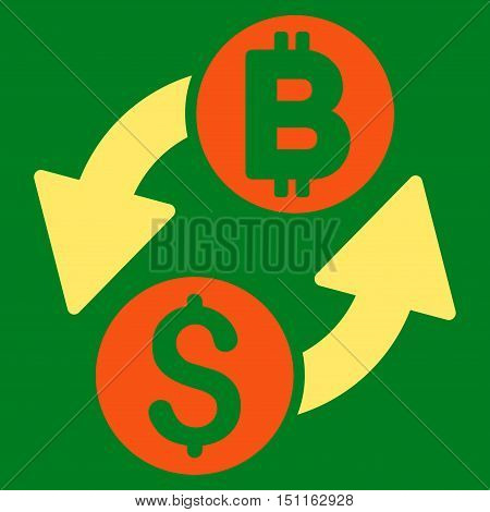 Dollar Bitcoin Exchange icon. Glyph style is bicolor flat iconic symbol with rounded angles, orange and yellow colors, green background.