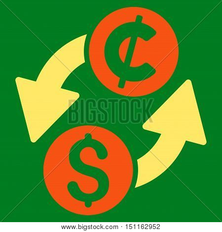 Dollar Cent Exchange icon. Glyph style is bicolor flat iconic symbol with rounded angles, orange and yellow colors, green background.