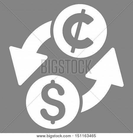Dollar Cent Exchange icon. Glyph style is flat iconic symbol with rounded angles, white color, gray background.
