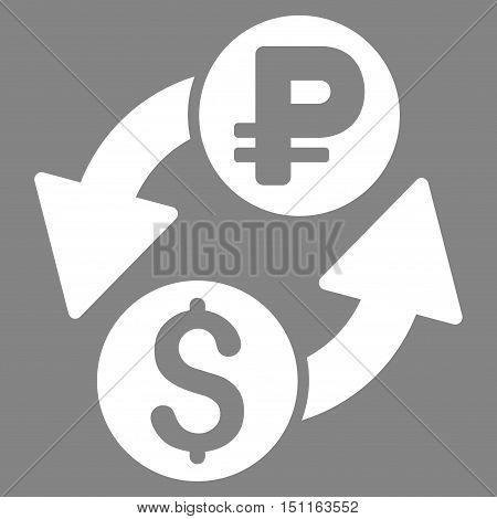 Dollar Rouble Exchange icon. Glyph style is flat iconic symbol with rounded angles, white color, gray background.