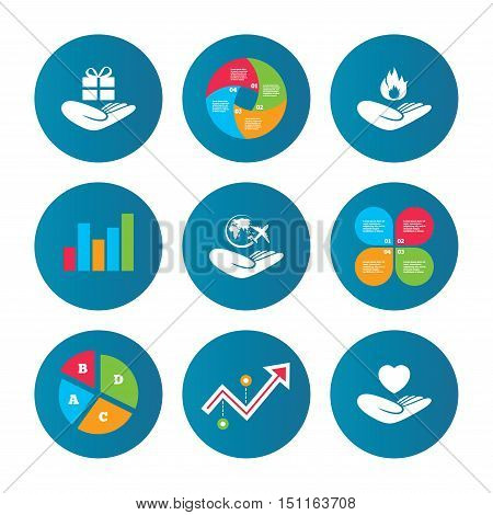 Business pie chart. Growth curve. Presentation buttons. Helping hands icons. Health and travel trip insurance symbols. Gift present box sign. Fire protection. Data analysis. Vector