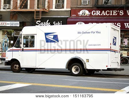 NEW YORK NY - September 24th 2016: Side of USPS (United States Postal Service) delivery truck