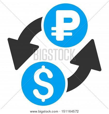 Dollar Rouble Exchange icon. Glyph style is bicolor flat iconic symbol with rounded angles, blue and gray colors, white background.