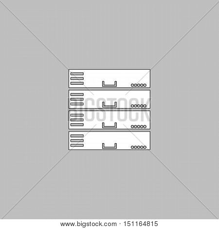 Server Simple line vector button. Thin line illustration icon. White outline symbol on grey background