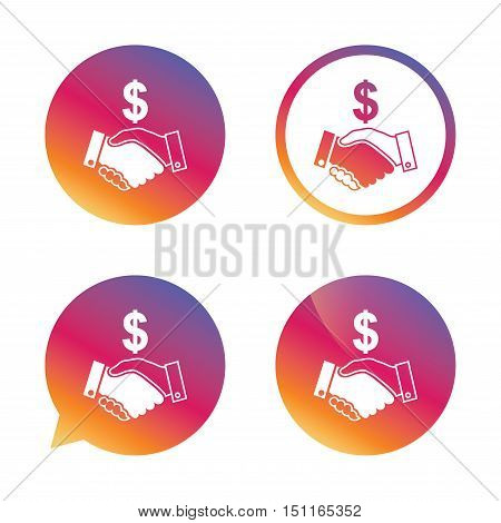 Dollar handshake sign icon. Successful business with USD currency symbol. Gradient buttons with flat icon. Speech bubble sign. Vector