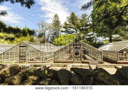 New Bedford Massachusetts USA - May 18 2016: Dilapidated greenhouses at Haskell Gardens waiting for their futures to be determined