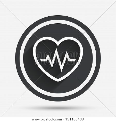 Heartbeat sign icon. Cardiogram symbol. Circle flat button with shadow and border. Vector