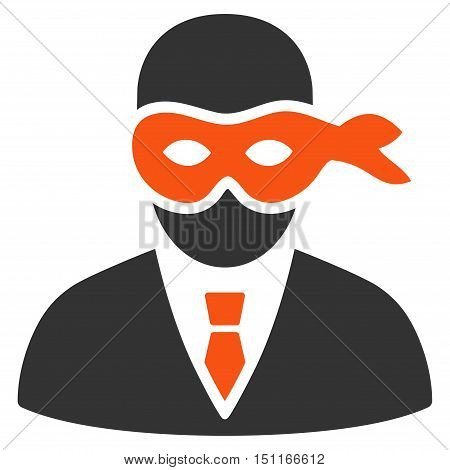Masked Thief icon. Glyph style is bicolor flat iconic symbol with rounded angles orange and gray colors white background.