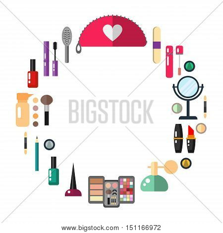 Cosmetic make up objects - round shape vector flat illustration.