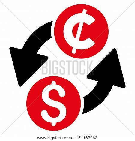 Dollar Cent Exchange icon. Glyph style is bicolor flat iconic symbol with rounded angles, intensive red and black colors, white background.