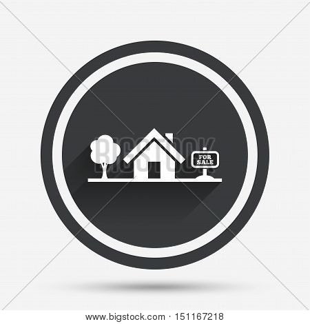 Home sign icon. House for sale. Broker symbol. Circle flat button with shadow and border. Vector