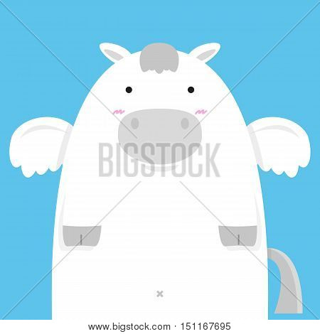 cute fat big pegasus horse on blue background